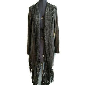 One World Long Cardigan 1x lace fringe boho thin